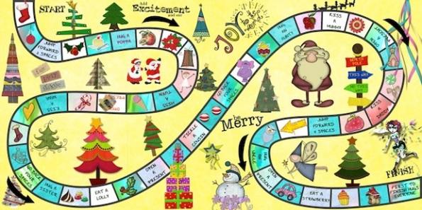 Il Natale stilizzato come se fosse un gioco da tavolo