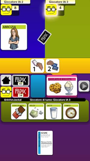 Una fase di gioco di Fluxx per iPhone e iPad