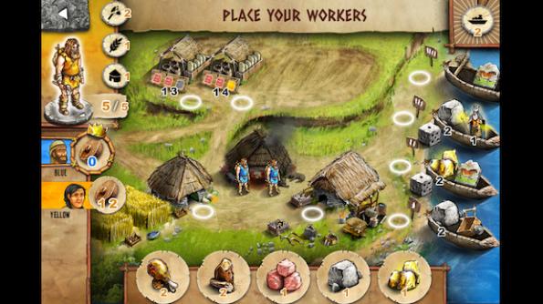 Una schermata presa durante una partita a due a Stone Age