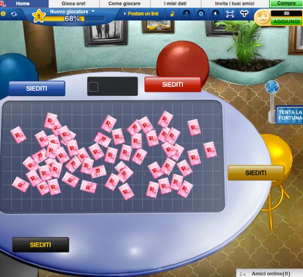 Una schermata di una partita a Rummikub online