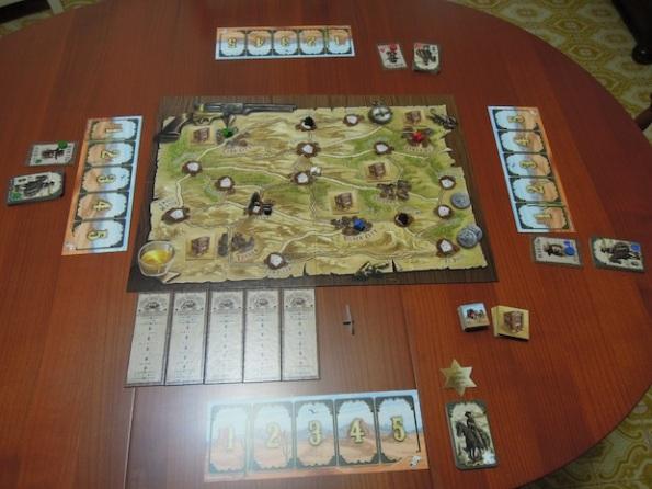 Il Setup di una partita a Desperados per quattro giocatori