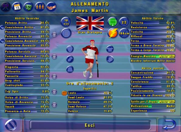 La schermata giocatore di Elbow Tennis Manager è completissima