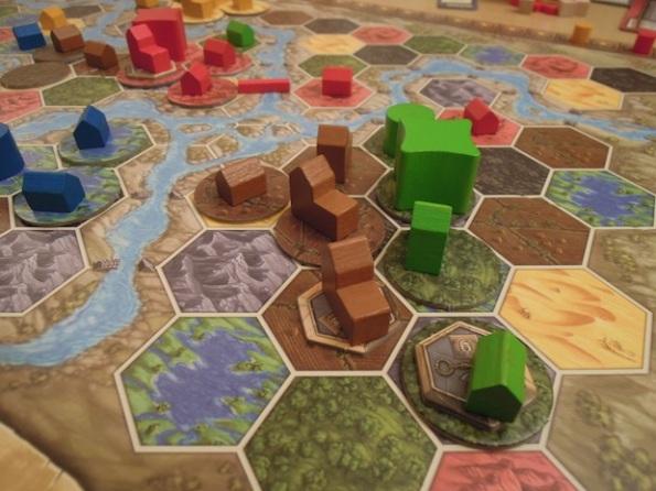 Un particolare del board di Terra Mystica durante una partita