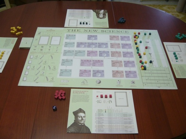 Il setup di The New Science per una partita a 4 giocatori