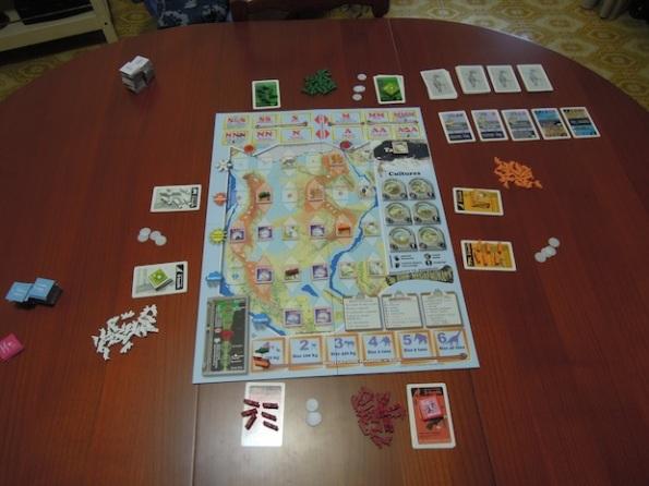 Setup per una partita a quattro giocatori a Bios Megafauna