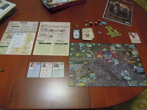 Il setup di una partita introduttiva a Dawn of the Zeds