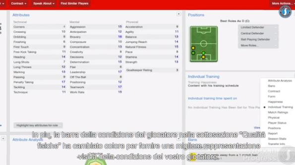 Una delle schermate del nuovo Football Manager