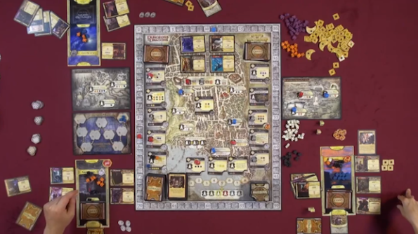 Una partita a Lords of Waterdeep con espansione Scoundrels of Skullport