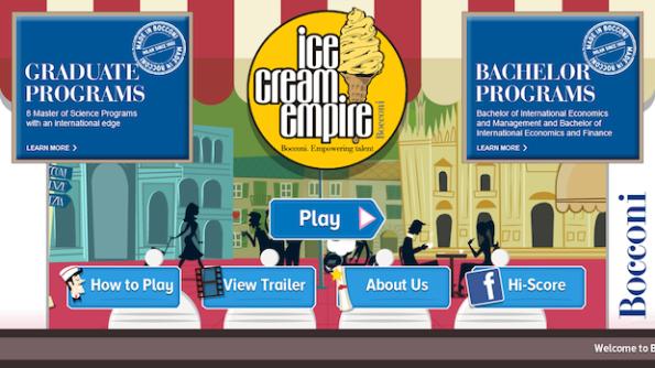 La Home Page di Ice Cream Empire il videogame della Bocconi