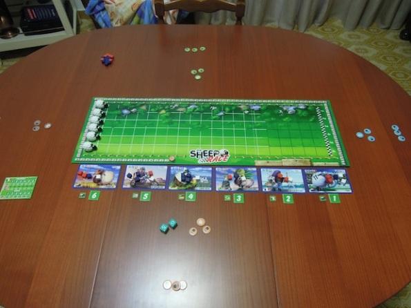 Il Setup di una partita a quattro giocatori di The Sheep Race
