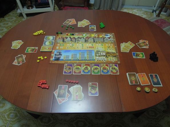 Setup di una partita a Craftsmen con quattro giocatori