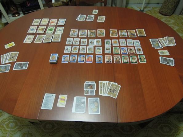 Setup per una partita a quattro giocatori di Florenza Card Game