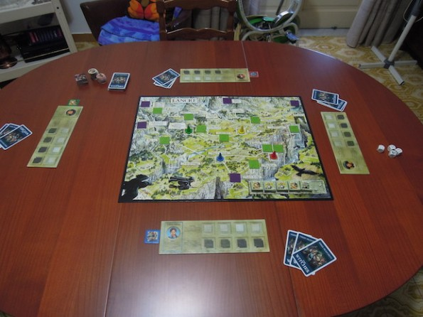 Setup di una partita a quattro giocatori di The Witches