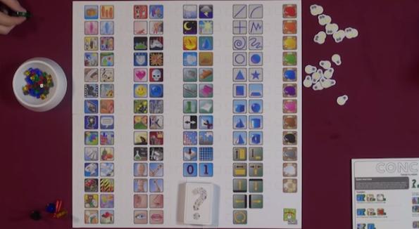 Una fase di gioco a concept sul tavolo di Game Night