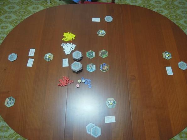 Setup partita a quattro giocatori di Hexemonia