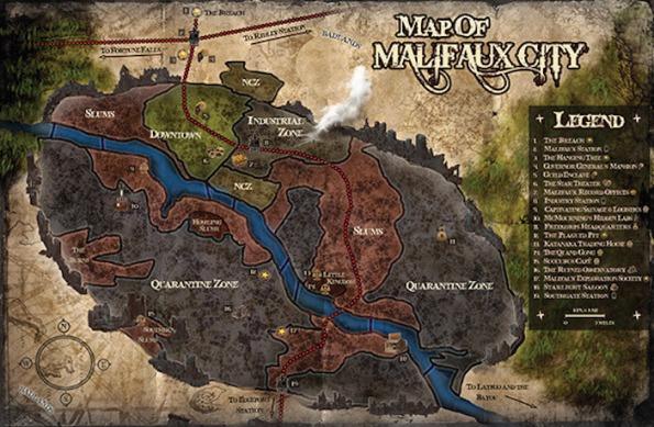 La mappa della città di Malifaux dalla quale il gioco prende il nome